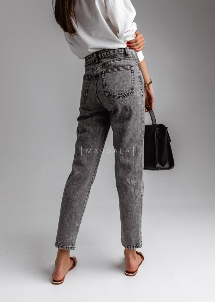 Boyfriendy trousers grey denim smooth – EDDIE
