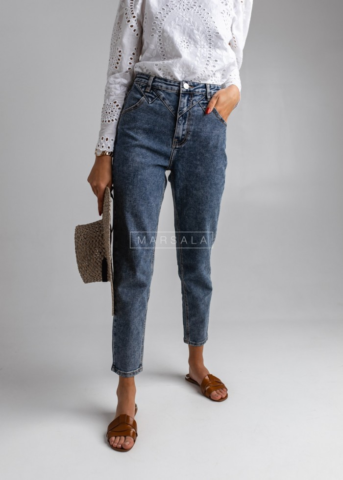 Mom jeans plain - BOYFRIEND BLUE
