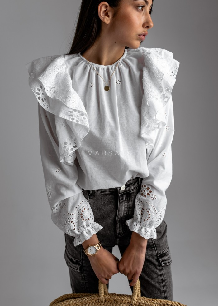 Openwork blouse with frills on the shoulders, white - CINDY by Marsala