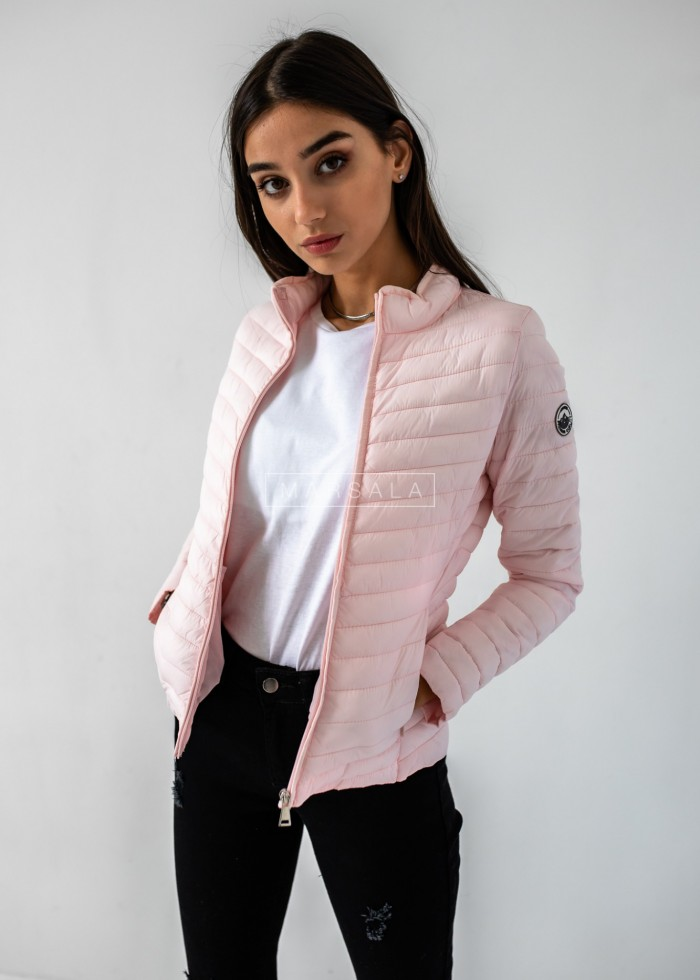 Quilted jacket in powder pink with trimming - OUTSIDE