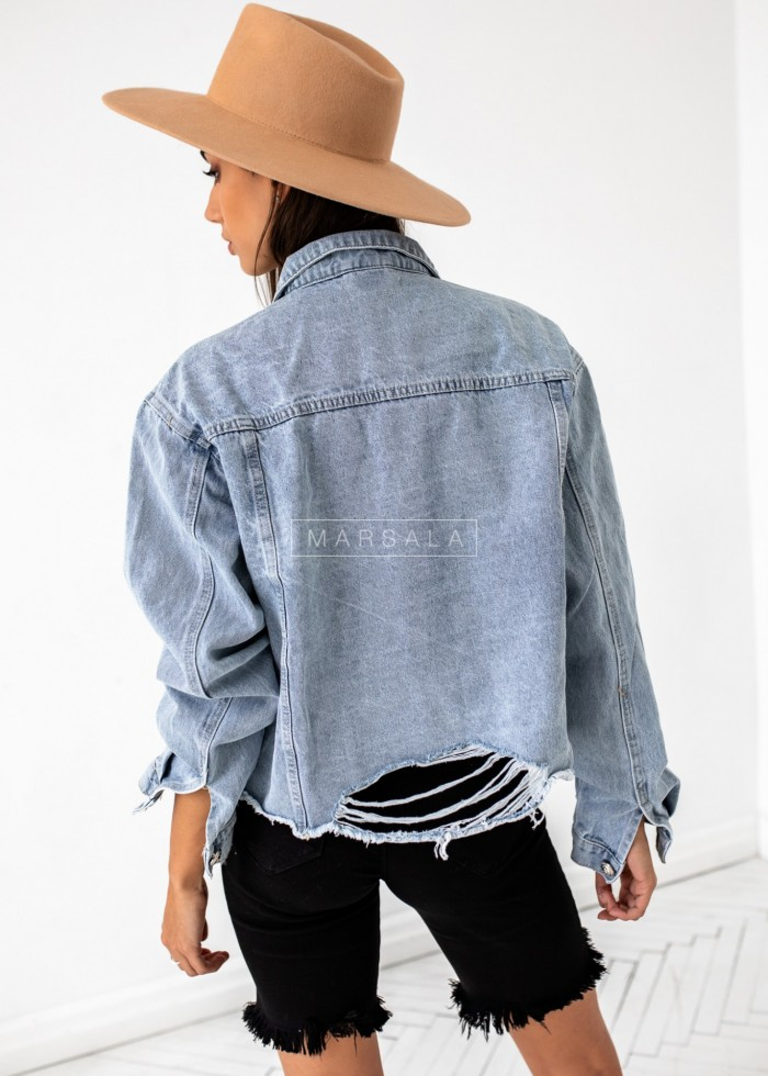 Raw short denim jacket - SLICE