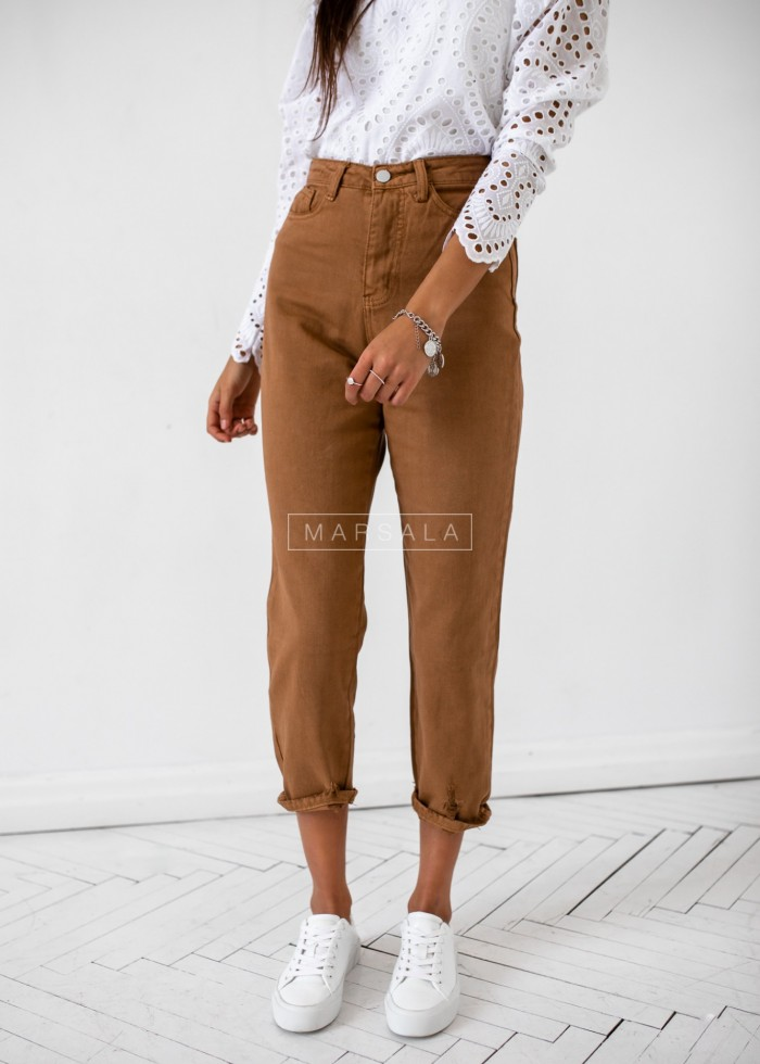Boyfriend trousers in brown - STONE
