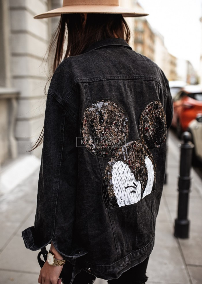 Black denim jacket with back application - Mickey