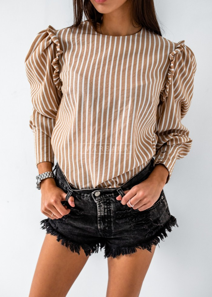 Puffy blouse with beige white stripes - SOPHIA