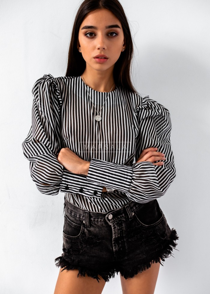 Puffy blouse with black white stripes - SOPHIA