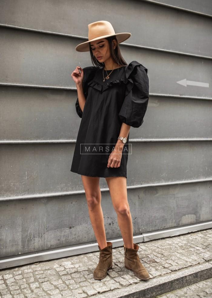 Sukienka koszulowa z falbanką w formie V czarna - TRIANA BY MARSALA