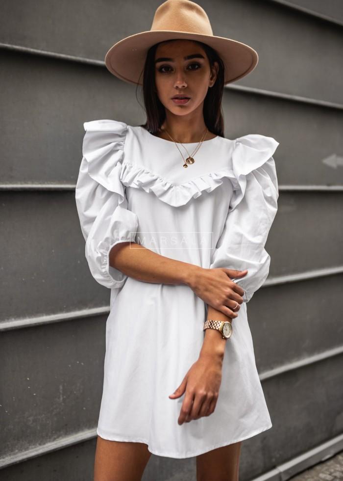 Sukienka koszulowa z falbanką w formie V biała - TRIANA BY MARSALA
