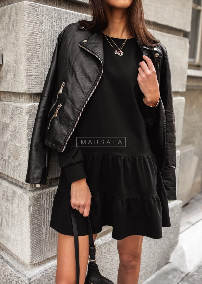 Thin knitted dress with frills black - LUISE BY MARSALA