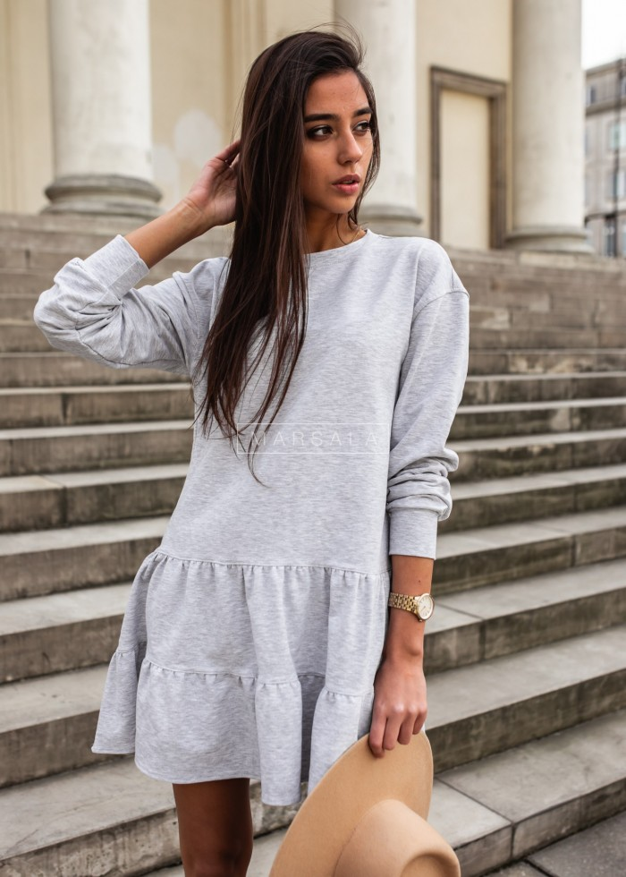 Thin knitted dress with frills grey - LUISE BY MARSALA