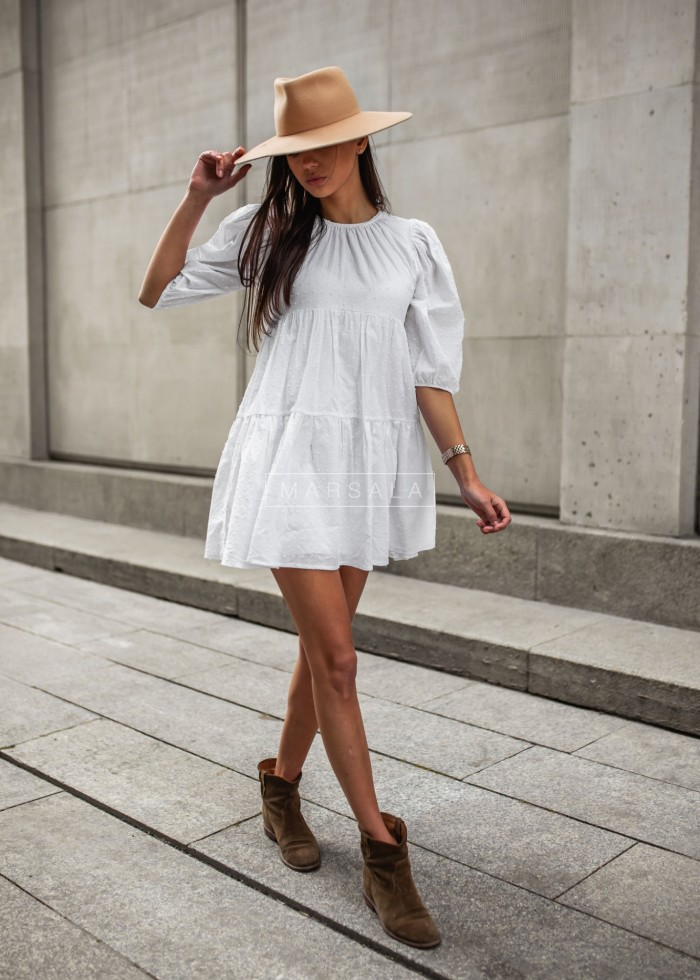 White flared dress with dots - PENELOPE by Marsala