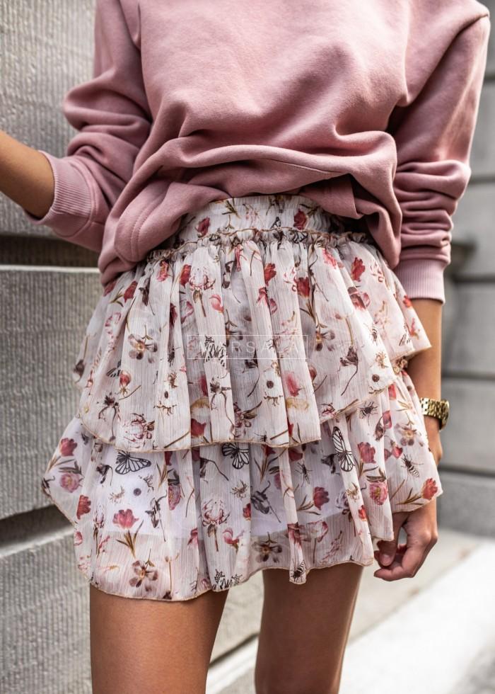 Spódniczka mini z falbankami i nadrukiem pudrowa - BLANCA PINK by Marsala