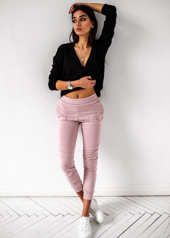 Spodnie dresowe w kolorze blady róż z przeszyciami - SIMON by Marsala