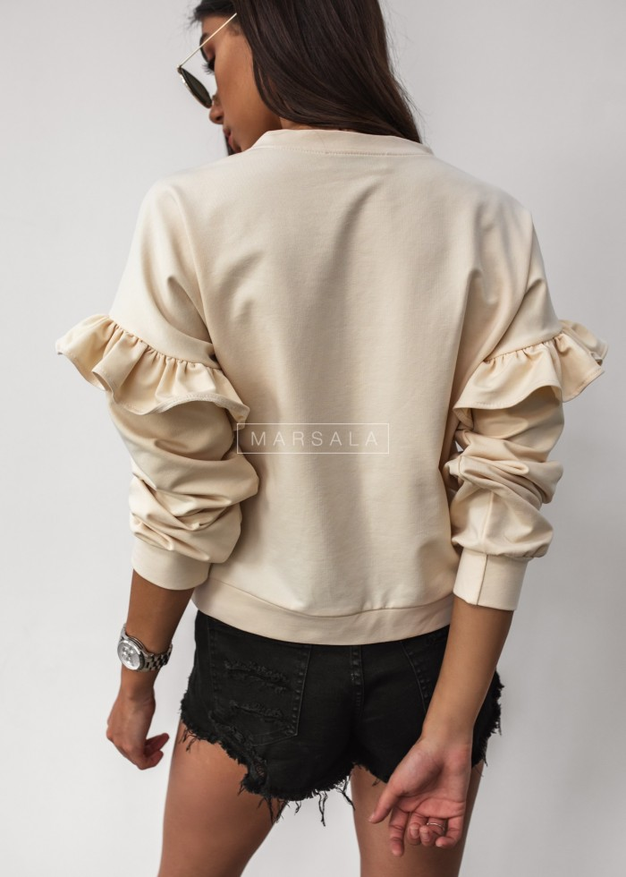 Sweatshirt with frill sleeves, ecru - GINNY by Marsala
