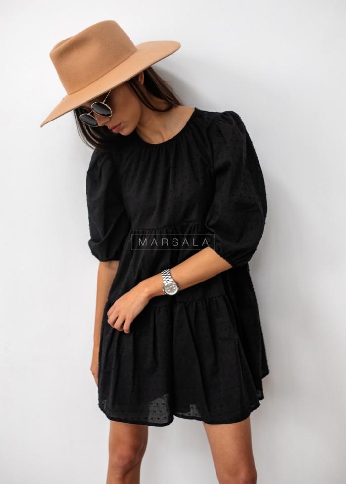 Sukienka rozkloszowana czarna w kropeczki - PENELOPE by Marsala