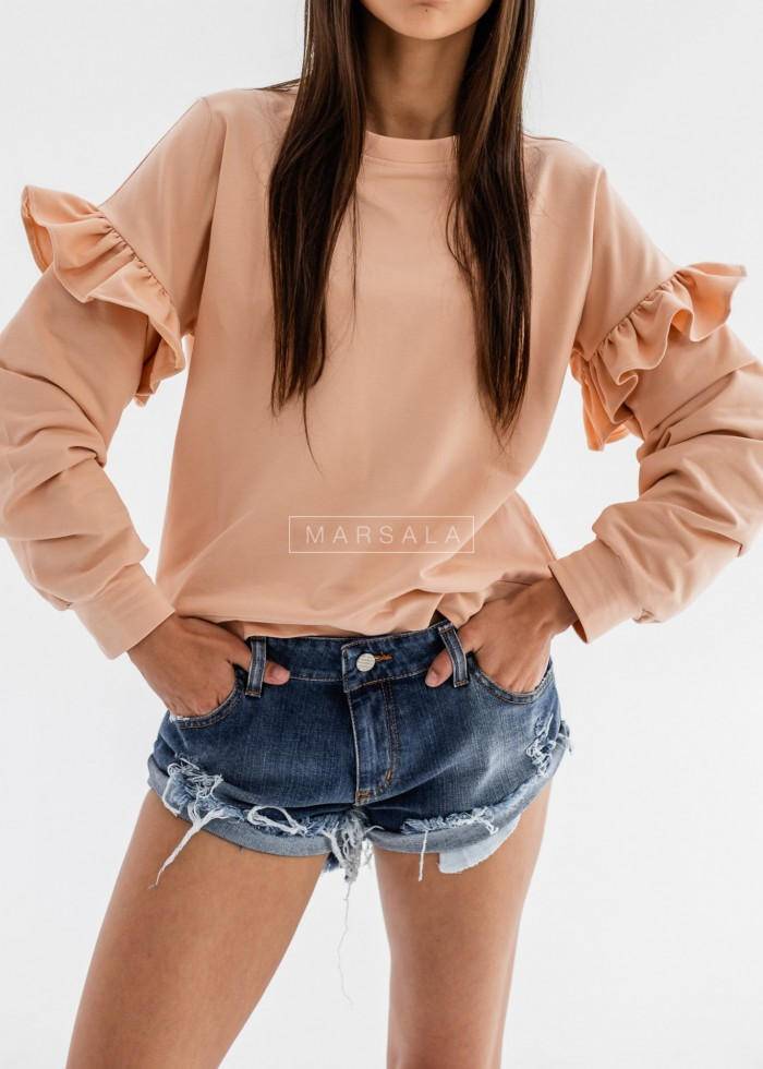 Sweatshirt with frill sleeves, apricot - GINNY by Marsala