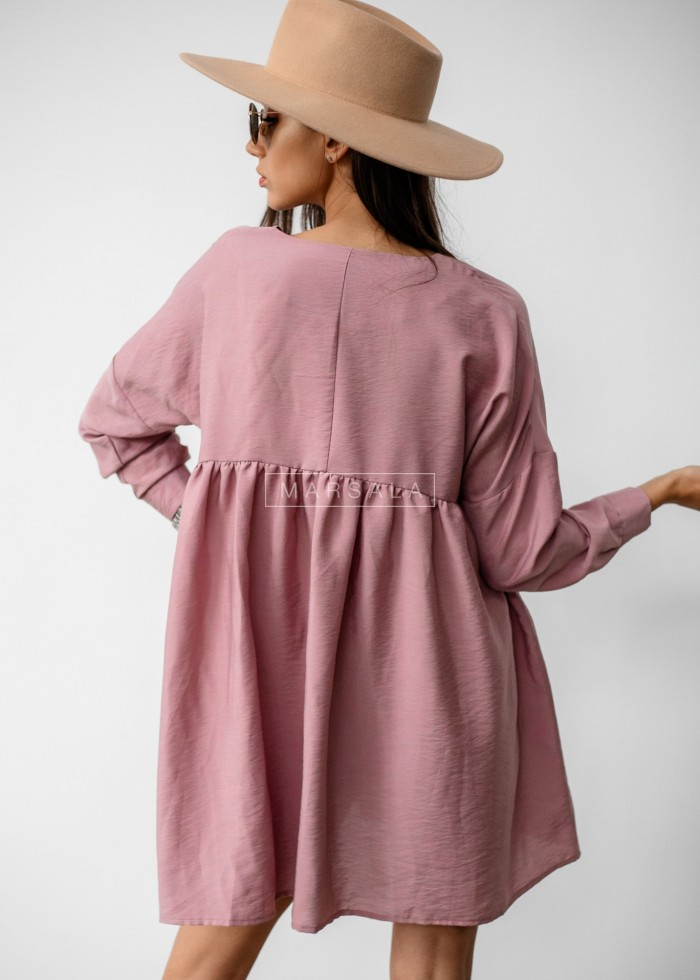 Oversize dress with cut-out under bust and V-neck dirty pink PASO BY MARSALA