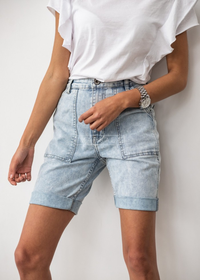 Bermuda shorts with rolled up leg light denim - ABOVE THE KNEE