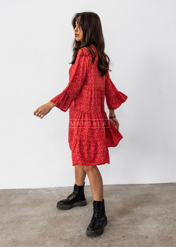 Oversize dress with frills and floral print in red - NICOLE RED