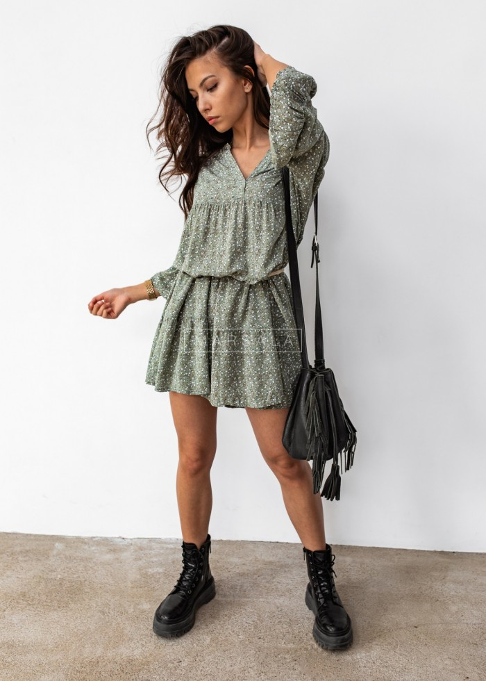Oversize dress with frills and floral print in khaki- NICOLE KHAKI