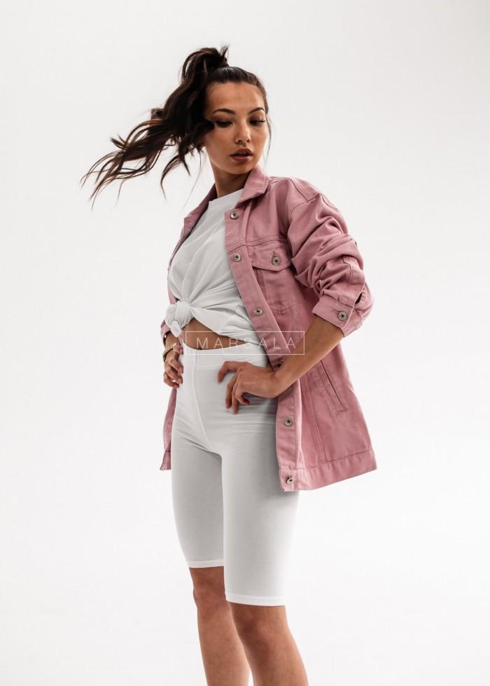 Pink denim jacket with belt - WONDER PINK