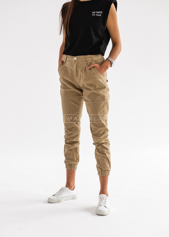 Beige baggy pants with chain - FUEGO BEIGE