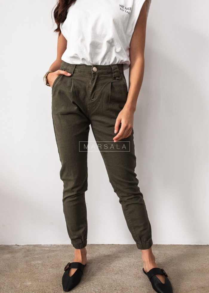 Beige baggy pants with chain - FUEGO KHAKI
