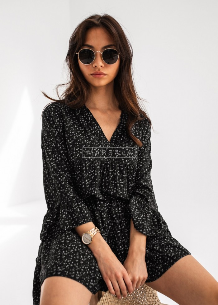Oversize dress with frills and floral print in black - NICOLE BLACK