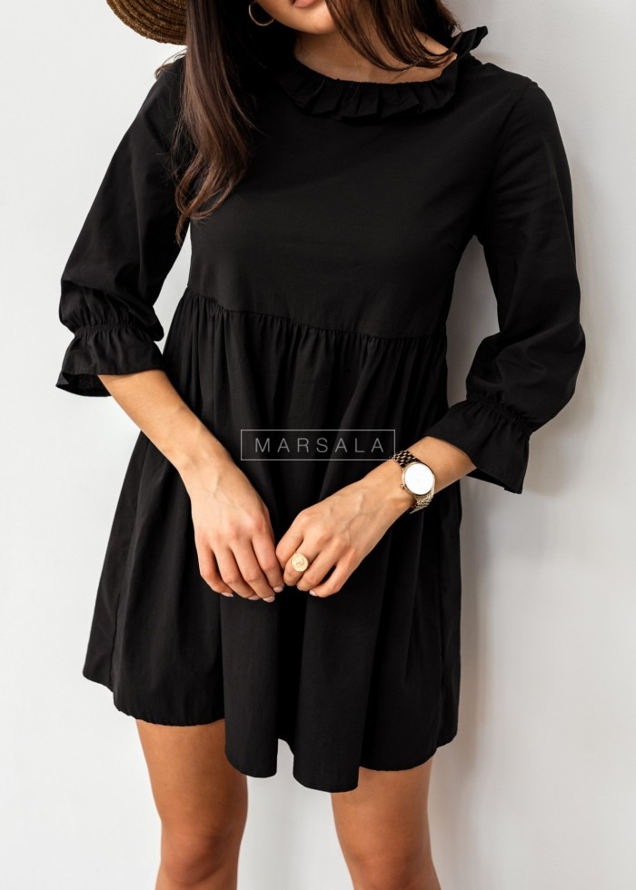 Shirt dress with decorative stand-up collar in black - AMELIE by Marsala
