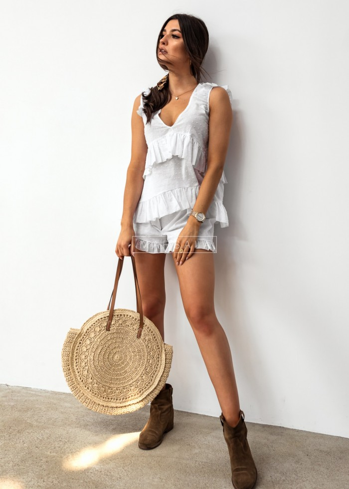 Plumeti fabric set with frill. White shorts + top - BALI WHITE*