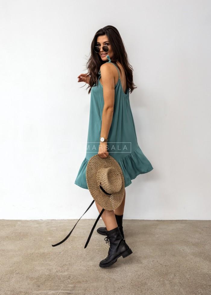 Thin strap dress with bottom frill, ocean blue – BELLIS