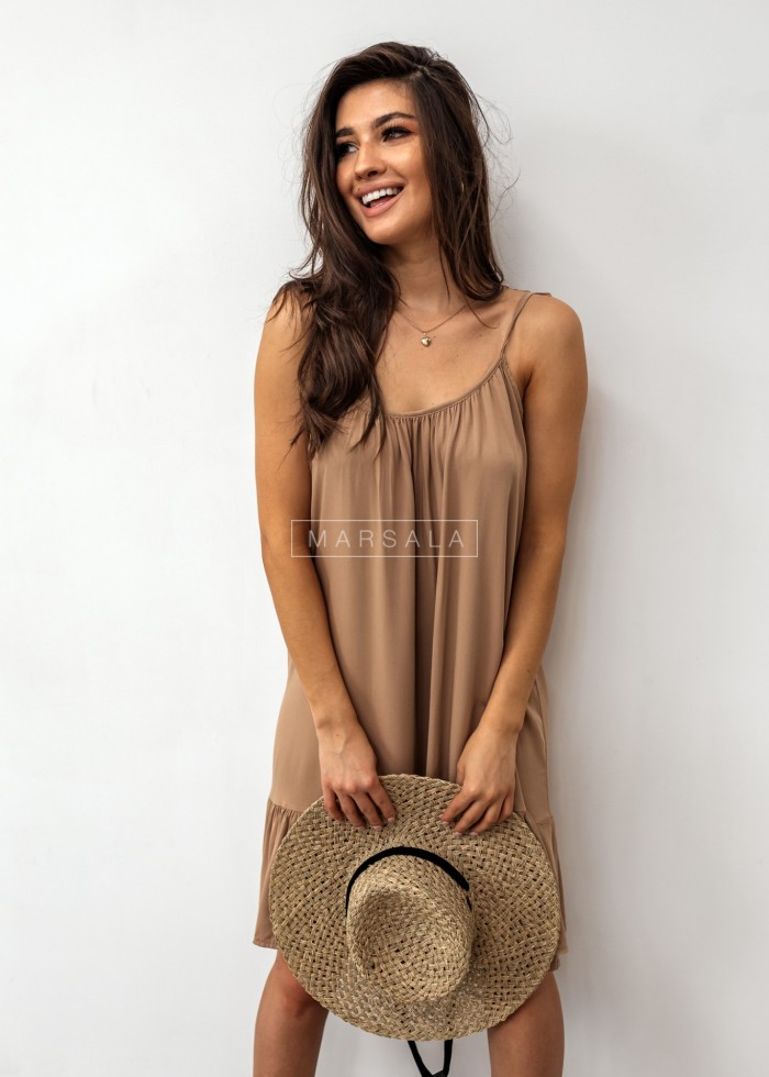 Thin strap dress with bottom frill, mocca– BELLIS