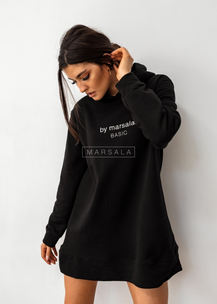 Extended sweatshirt with embroidery by Marsala BASIC long black