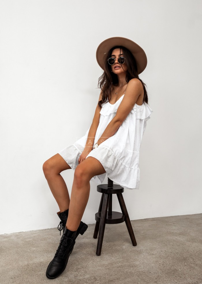 White plumeti dress - MALIBU BY MARSALA