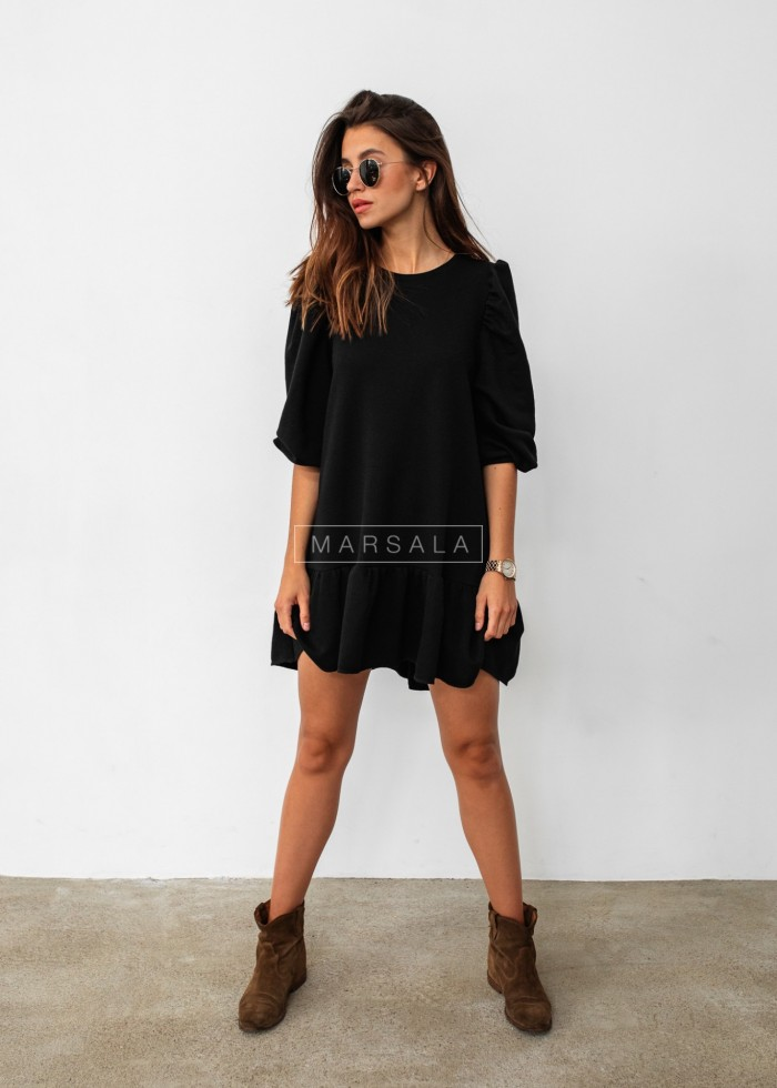 Black sweatshirt puff dress with bottom frill - SALLY by Marsala