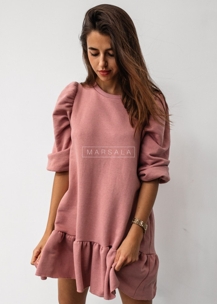 Dirty pink sweatshirt puff dress with bottom frill - SALLY by Marsala