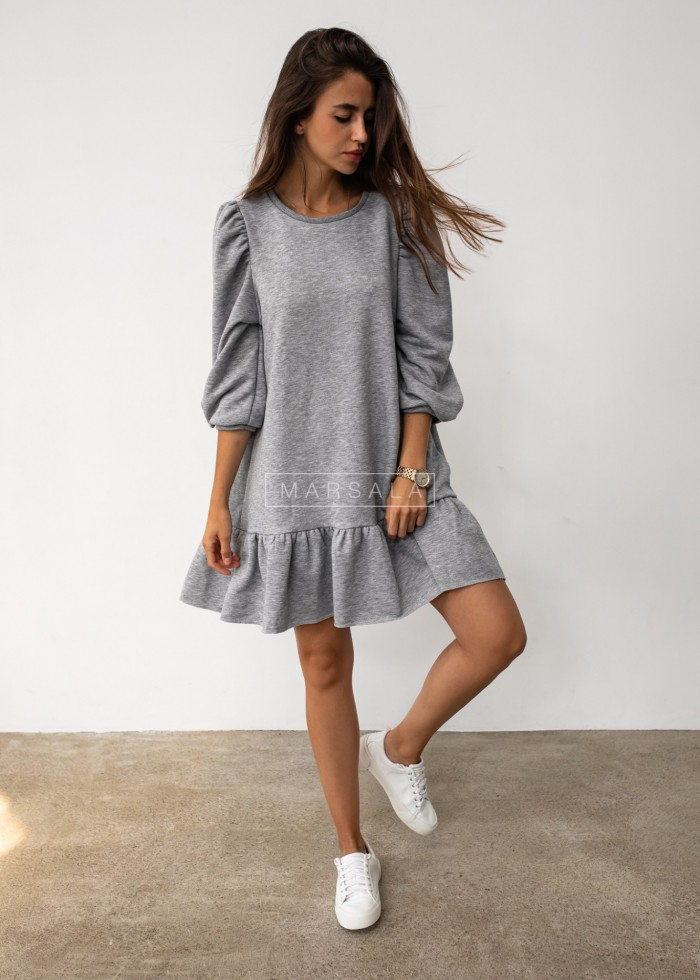 Grey sweatshirt puff dress with bottom frill - SALLY by Marsala