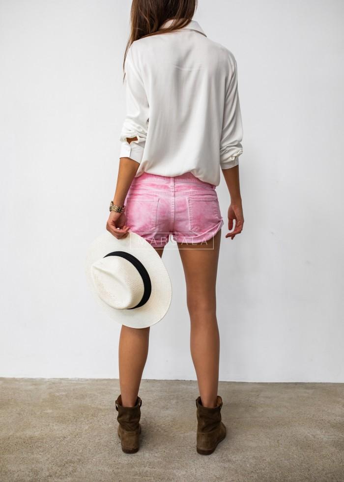Spodenki szorty damskie ze spranego jeansu w odcieniu różowym - CANDY
