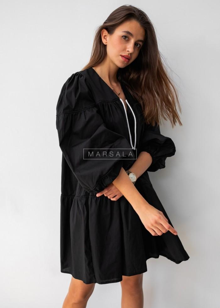 Sukienka rozkloszowana gładka z dekoltem V i sznurkiem czarna - CAMPBELL BLACK by Marsala