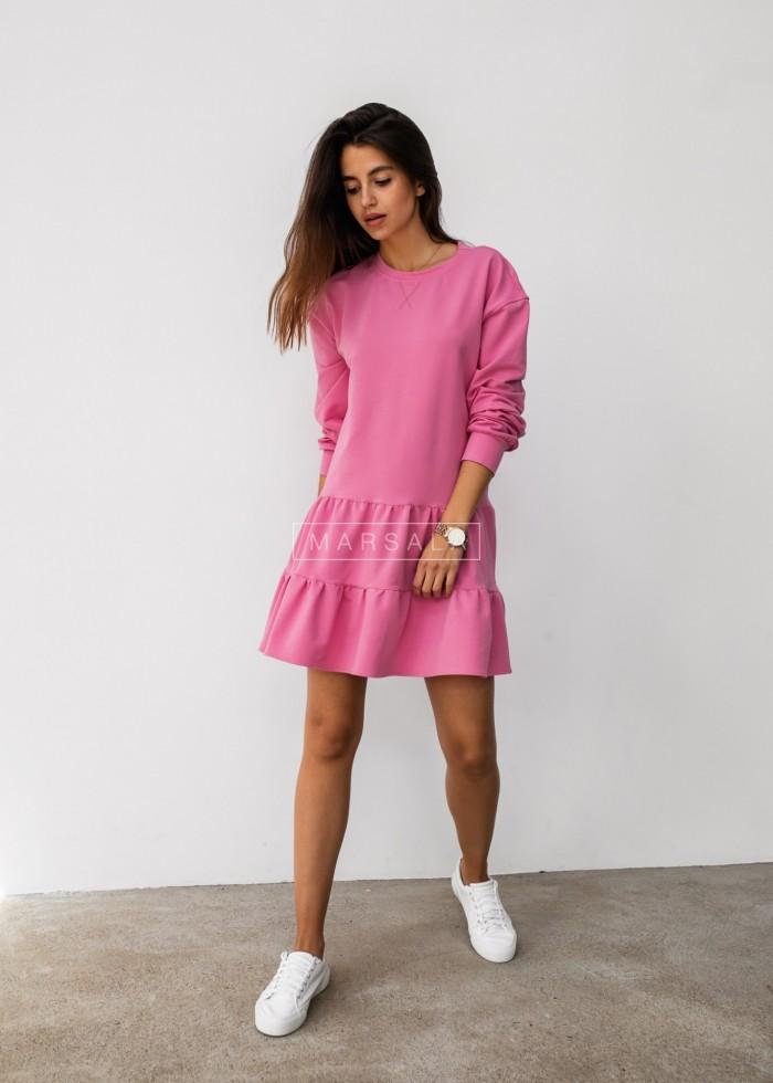Sukienka z cienkiej dzianiny z falbankami różowa/pink - LUISE BY MARSALA