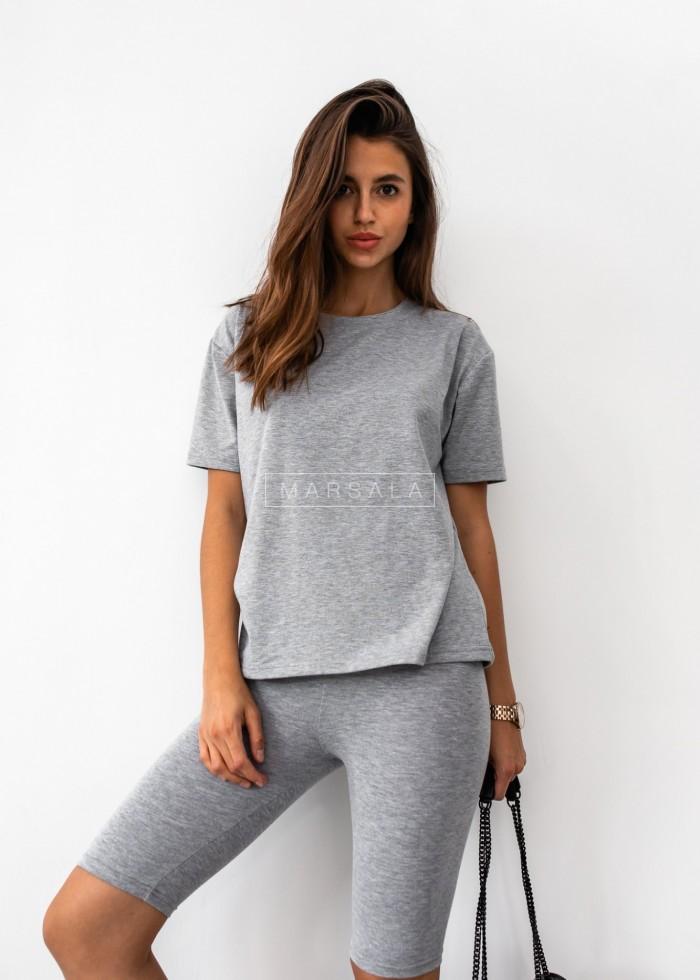 Komplet t-shirt + kolarki w kolorze szarym DOUBLE by Marsala