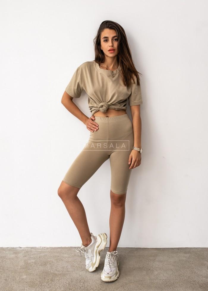 Komplet t-shirt + kolarki w kolorze oliwkowym DOUBLE by Marsala