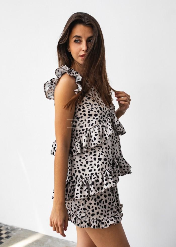 Komplet z falbankami i printem spodenki+top mocca w czarne plamki - BALI PRINT MOCCA by Marsala