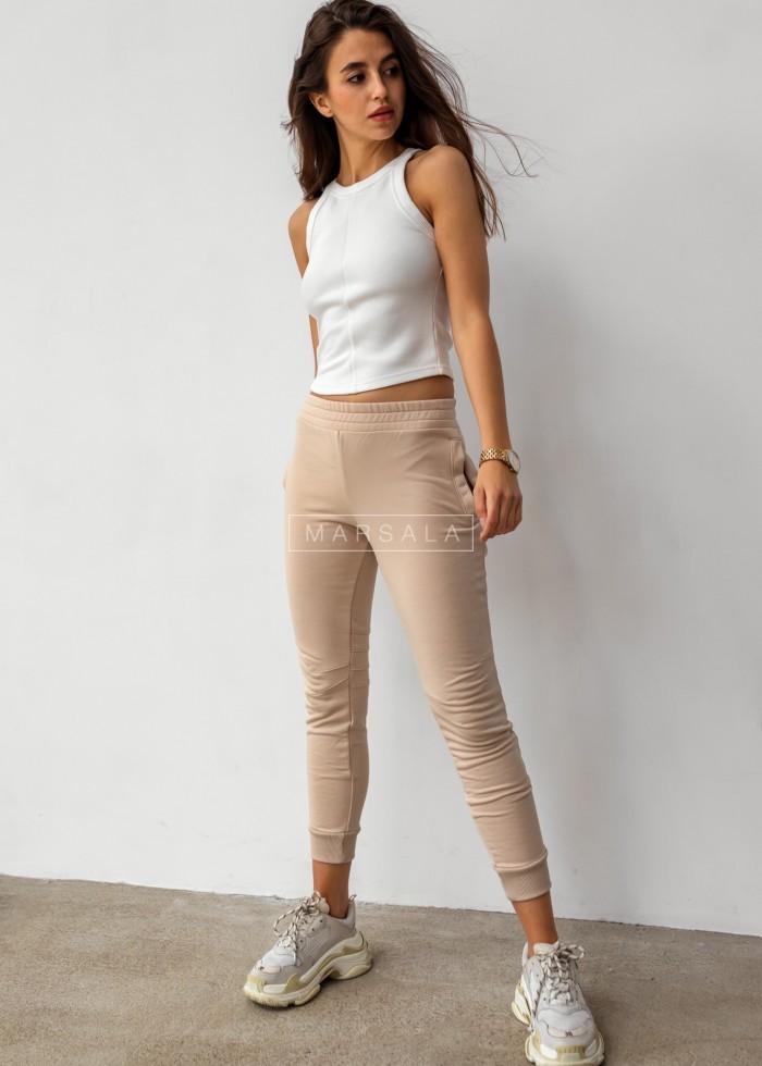 Spodnie dresowe w kolorze jasnego beżu z przeszyciami - SIMON by Marsala