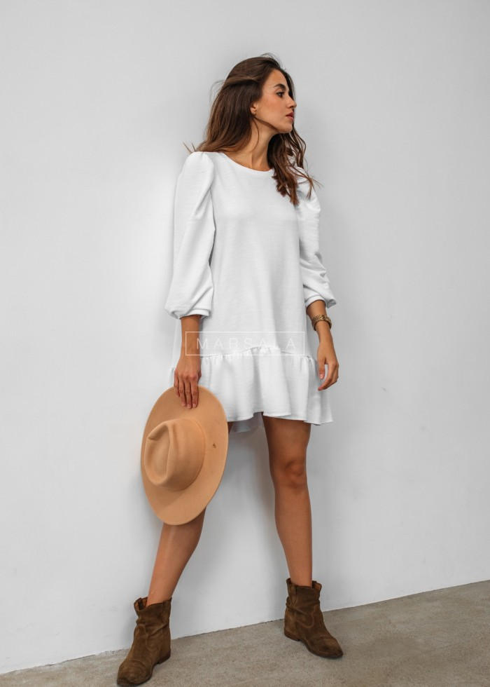 White sweatshirt puff dress with bottom frill - SALLY by Marsala