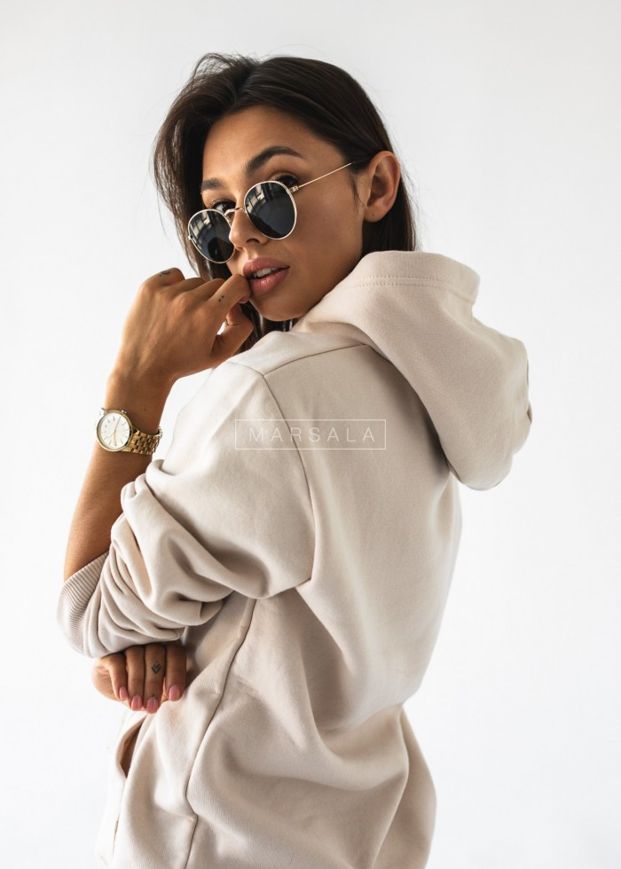 Bluza z kapturem w kolorze WHITE SAND BASIC BY MARSALA