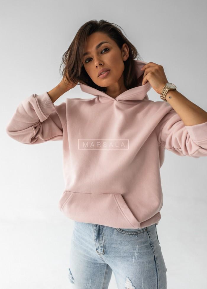 Bluza BASIC BY MARSALA z kapturem w kolorze Pink Salt