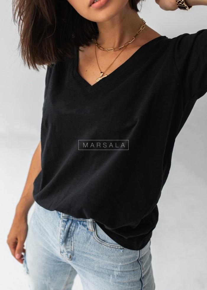 T shirt damski V neck z lnianej bawełny w kolorze czarnym - SIMPLE by Marsala