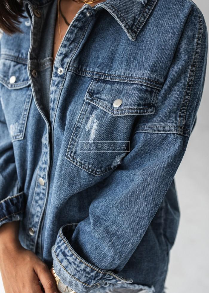 Koszula wierzchnia granatowy jeans z przetarciami - SELFIE NAVY