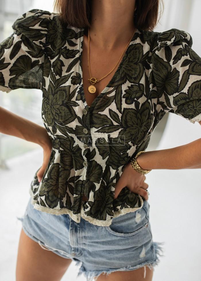 Bluzka/koszula z printem w kwiaty ecru-khaki - DELIA