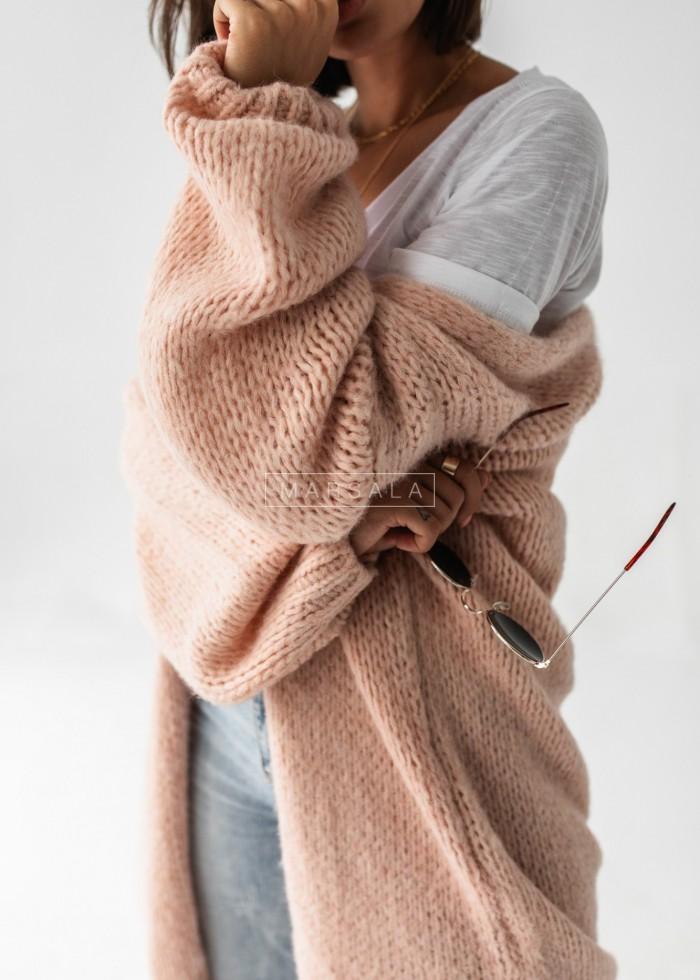 Kardigan z miękkiej włóczki w kolorze pudrowym - DAILY